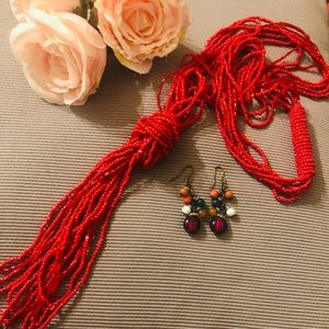Long Statement Beaded Red Necklace with Earrings